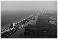 Aerial view of Fort Lauderdale Coast. Florida, USA ( black and white)