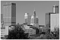 Skyline and Georgia Capitol, late afternoon. Atlanta, Georgia, USA ( black and white)