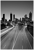 Highway and skyline, dusk. Atlanta, Georgia, USA (black and white)