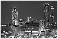 Downtown High-rise buildings at night. Atlanta, Georgia, USA ( black and white)