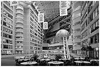 Atrium inside CNN Center. Atlanta, Georgia, USA (black and white)
