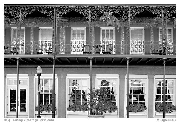 Balcony with wrought-iron decor, Marshall House, Savannah oldest hotel. Savannah, Georgia, USA