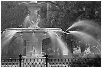 Detail of 1858 fountain in Forsyth Park. Savannah, Georgia, USA (black and white)