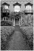 Garden and historic house entrance. Savannah, Georgia, USA ( black and white)