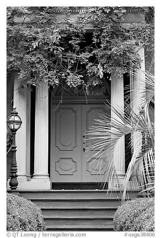 Doorway with luxuriant vegetation. Savannah, Georgia, USA