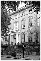 Mansion, historical district. Savannah, Georgia, USA ( black and white)
