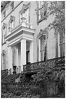 Mansion facade, historical district. Savannah, Georgia, USA (black and white)