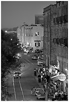 River street at dusk from above. Savannah, Georgia, USA (black and white)