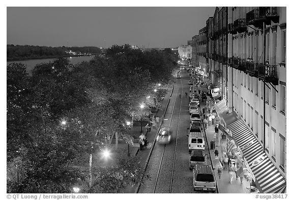 Riverside street at dusk from above. Savannah, Georgia, USA (black and white)