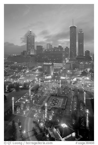 Centenial Olympic Park and skyline at dawn. Atlanta, Georgia, USA (black and white)