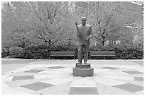 Monument to William Porter Payne and fall colors, Centenial Olympic Park. Atlanta, Georgia, USA (black and white)