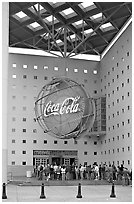 Line at World of Coca-Cola (R) entrance. Atlanta, Georgia, USA ( black and white)