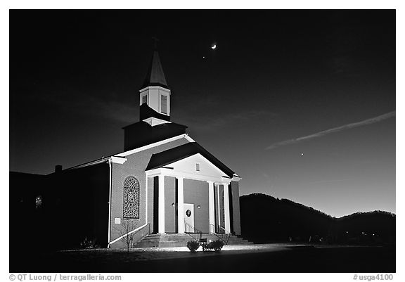 Church and moonrise. Georgia, USA (black and white)