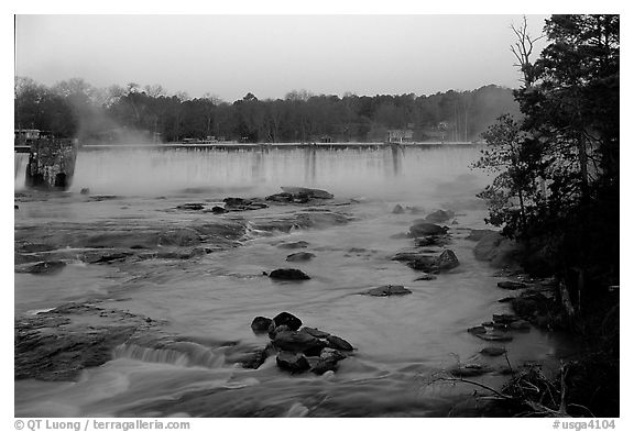 Waterfall at sunrise in High Falls State Park. Georgia, USA (black and white)