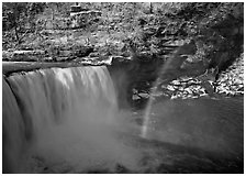 Rainbow over Cumberland Falls in winter. Kentucky, USA (black and white)