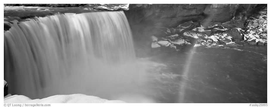 Waterfall and rainbow in winter. Kentucky, USA (black and white)