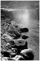 Cumberland falls in winter. Kentucky, USA (black and white)
