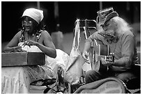 Street musicians, French Quarter. New Orleans, Louisiana, USA ( black and white)