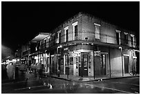 Maison Bourbon, on Bourbon Street, French Quarter. New Orleans, Louisiana, USA (black and white)