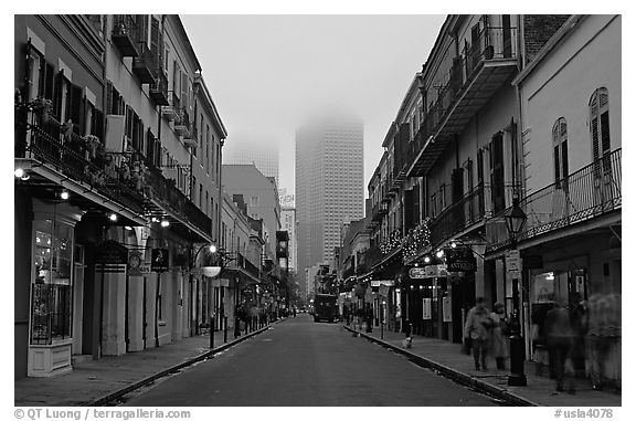 Black and white picture photo bourbon street and the new town in the fog french quarter new orleans louisiana usa