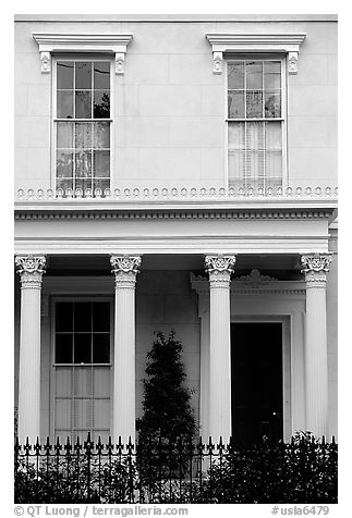 Facade in Southern style, Garden Distric. New Orleans, Louisiana, USA (black and white)