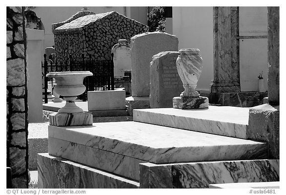 Tombs in Saint Louis cemetery. New Orleans, Louisiana, USA (black and white)