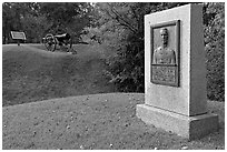 Monument, Union position markers, and gun, Vicksburg National Military Park. Vicksburg, Mississippi, USA (black and white)