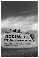 Entrance sign, Vicksburg National Military Park. Vicksburg, Mississippi, USA (black and white)