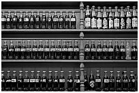 Collectino of Coca Cola bottles. Vicksburg, Mississippi, USA (black and white)