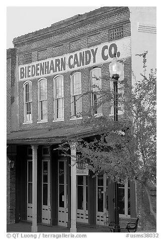 Biedenharn Candy building, where Coca-Cola was first bottled. Vicksburg, Mississippi, USA (black and white)