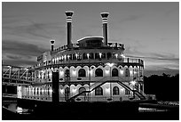 Horizon riverboat casino at dusk. Vicksburg, Mississippi, USA (black and white)