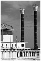 Smokestacks of the Isle of Capri Riverboat. Natchez, Mississippi, USA (black and white)