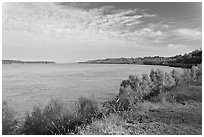 Mississippi River. Natchez, Mississippi, USA ( black and white)