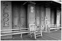 Saloon Porch, Natchez under-the-hill. Natchez, Mississippi, USA ( black and white)