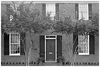 Facade of Gov Holmes house, later owned by Jefferson Davis. Natchez, Mississippi, USA (black and white)