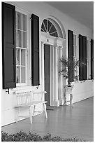 Porch of Griffith-McComas house. Natchez, Mississippi, USA (black and white)
