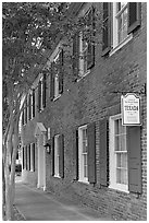 Texada, a red brick house built in 1792. Natchez, Mississippi, USA (black and white)