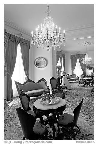 Rosewood furniture by John Henry Belter in Rosalie. Natchez, Mississippi, USA (black and white)