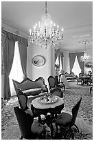 Rosewood furniture by John Henry Belter in Rosalie. Natchez, Mississippi, USA ( black and white)