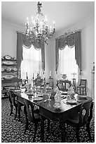 Dining room inside Rosalie house. Natchez, Mississippi, USA (black and white)