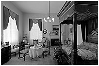 Bedroom inside Rosalie. Natchez, Mississippi, USA (black and white)