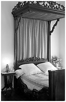 Bed inside Rosalie. Natchez, Mississippi, USA (black and white)