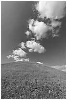 Rounded hill and clouds,  Emerald Mound. Natchez Trace Parkway, Mississippi, USA (black and white)