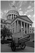 Cannon and Mississippi Capitol at sunset. Jackson, Mississippi, USA ( black and white)