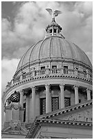 Dome of Mississippi Capitol at sunset. Jackson, Mississippi, USA (black and white)
