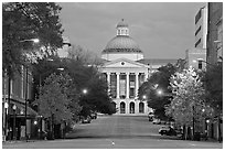 Street leading to Old Capitol at dusk. Jackson, Mississippi, USA ( black and white)