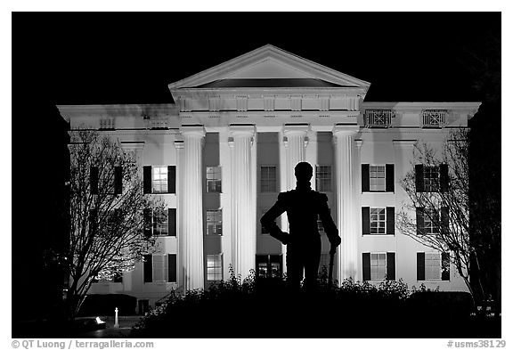 Statue of Andrew Jackson silhouetted against the City Hall at night. Jackson, Mississippi, USA (black and white)