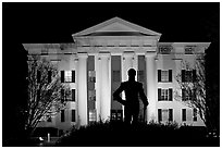 Statue of Andrew Jackson silhouetted against the City Hall at night. Jackson, Mississippi, USA ( black and white)