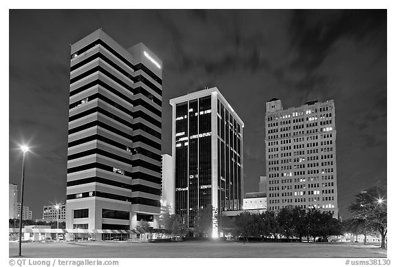 Black and white picture photo downtown high rise buildings at night jackson mississippi usa