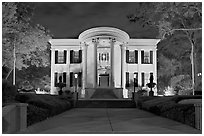 Mississippi Governor's mansion at night. Jackson, Mississippi, USA ( black and white)